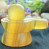 Yellow Fluorite Shivaling - 125 gms