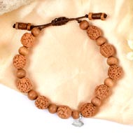5 mukhi Guru bracelet from Java with Sandalwood beads