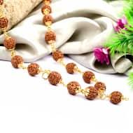 5 mukhi Guru mala in gold polish copper - 9 mm