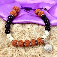 5 Mukhi Rudraksha and Amethyst Bracelet - I (Crown)