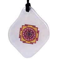 Shree yantra Pendant on White Agate