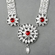 Floral Designer Necklace in pure silver - I