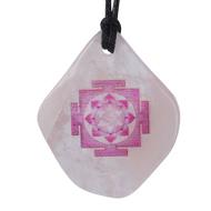 Mahalaxmi Yantra Pendant on Rose Quartz