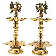 Peacock design brass Samai Diya - Set of 2
