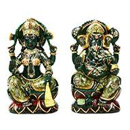 Divine Pair Ganesh Laxmi in Columbian Green Jade