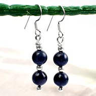 Round Double Beads Blue Sapphire Earrings
