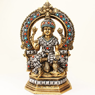 Brass Maa Laxmi Idol with Stone Work