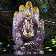Lord Ganesha on hand figurine in Amethyst