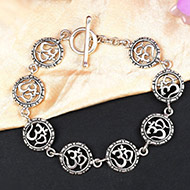 Om Bracelet in pure silver - Design IV