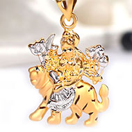 Durga Pendant in pure Gold - 2.36 gms