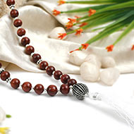 White Agate and Red Sandalwood beads Mala
