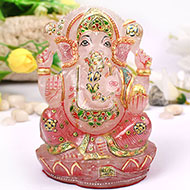 Exotic Ganesh Idol in Rose Quartz - 776 gms