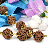 5 Mukhi Mala in designer gold polish caps - 18 mm