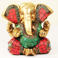 Brass Lord Ganesha Idol with Stone Work - Design IV