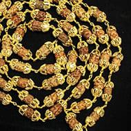 2 mukhi moon mala in gold