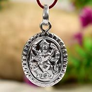 Maa Durga Locket - in Pure Silver - Design II