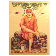 Sai Baba Photo in Golden Sheet - Large