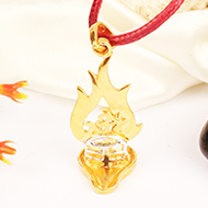 Shivling with Trishul Locket in Silver Gold polish