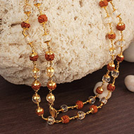6mm Rudraksha and Crystal Beads in Pure Gold ..