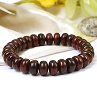 Red Sandalwood bracelet - Elliptical beads