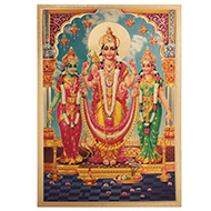 Lord Kartikeya with Valli and Deviyani Photo in Golden Sheet - Large