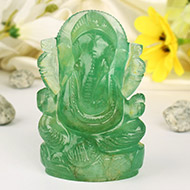 Fluorite Ganesha statue - 385 gms
