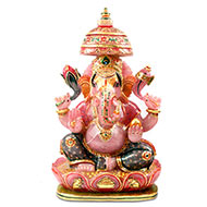 Majestic Giant Ganesha Idol in Rose Quartz