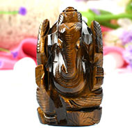 Tiger Eye Ganesha-Right Trunk-139 gms