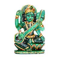 Exotic Sarawati Idol in Green Jade - 1.494 Kgs