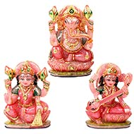 Exotic Laxmi Ganesh Sarawati Idols in Rose Quartz