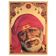 Lord Sainath Photo in Golden Sheet - Large