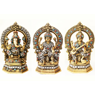 Laxmi Ganesh Saraswati Idol with Stone Work - CIV