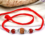 6 mukhi Rakhi Carnelian beads with pure silver accessories in thread