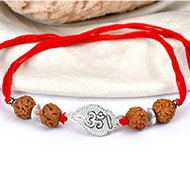 6 mukhi Rakhi with pure silver accessories in thread - I