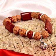 6 Mukhi Rudraksha and Jasper Bracelet (Root)