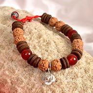 6 mukhi Rudraksha and Red Carnelian Bracelet (Root)