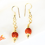 Rudraksha and Gold Earring Set with Gold Caps and Balls - 9mm