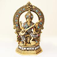 Brass Maa Saraswati Idol with Stone Work