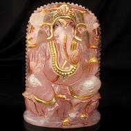 Siddhipriya Ganesh idol in Rose quartz