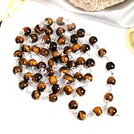 Round Tiger Eye mala in pure silver flower caps - 8 mm
