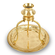 Brass Abhishek Pot with stand and plate