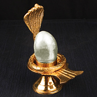 Parad Shivling with Brass yoni base