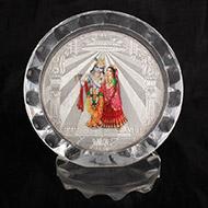 Radha Krishna Silver Frame - Design I