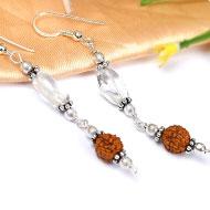 Rudraksha and Quartz Earring