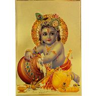 Bal Krishna Photo in Golden Sheet - Large