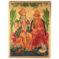 Vishnu Laxmi Photo in Golden Sheet - Large
