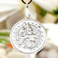 Hanuman locket in pure silver - III