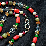 Navaratna mala with silver beads - I
