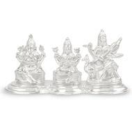 Ganesh Laxmi Saraswati in pure Silver - Big