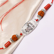 5 Mukhi Rakhi Coral Beads with pure silver and metal accessories